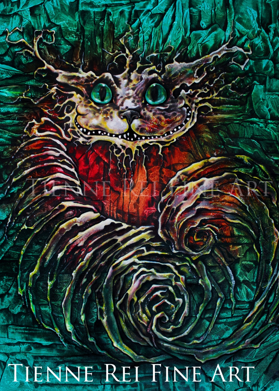 """Not All There"" oil painting of Cheshire Cat by Tienne Rei"