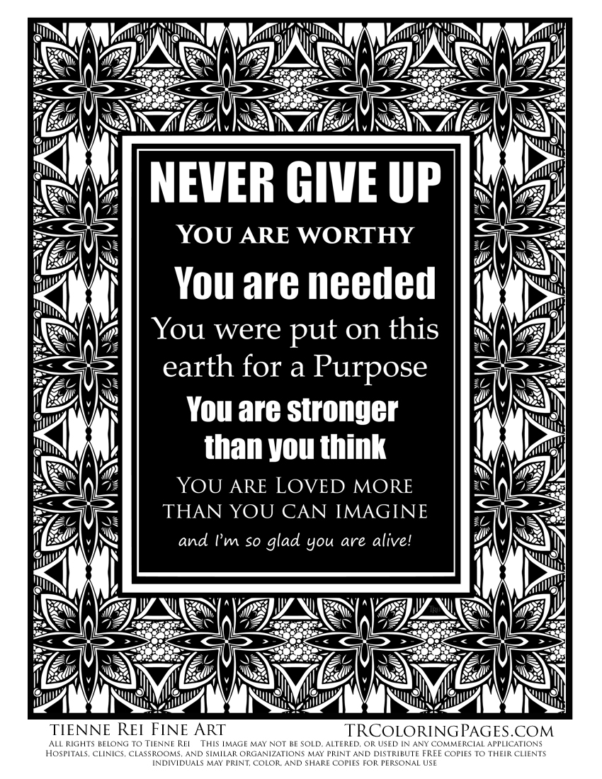 Never Give Up Free coloring Page